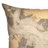 Charleston Harbor Indoor/Outdoor Vintage Nautical Chart Pillow (Square)