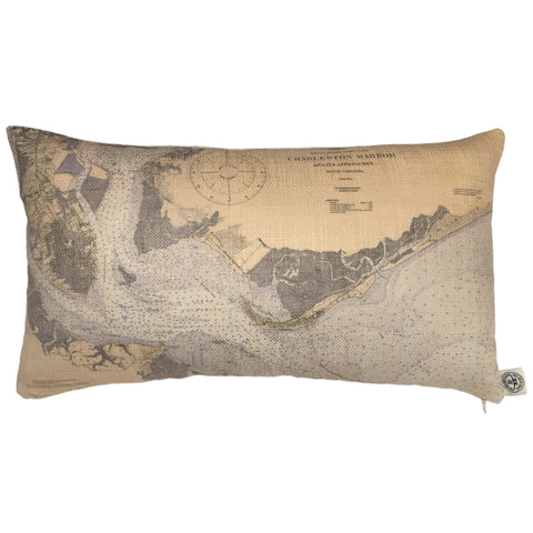 Charleston Harbor Indoor/Outdoor Vintage Nautical Chart Pillow (Lumbar)