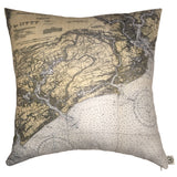Charleston Harbor & Approaches Indoor/Outdoor Vintage Nautical Chart Pillow (Square)