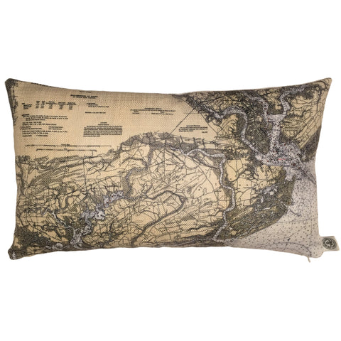 Charleston Harbor and Approaches Indoor/Outdoor Vintage Nautical Chart Pillow (Lumbar)