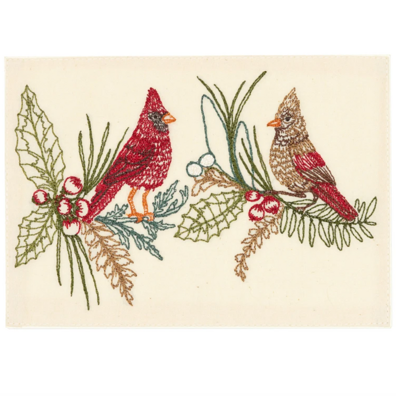 Embroidered Christmas Cardinals Card