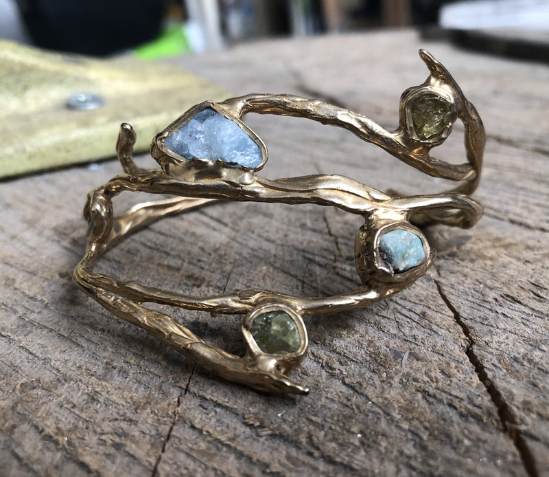 Deep Roots Cuff (Aquamarine, Emerald, Green Garnet)
