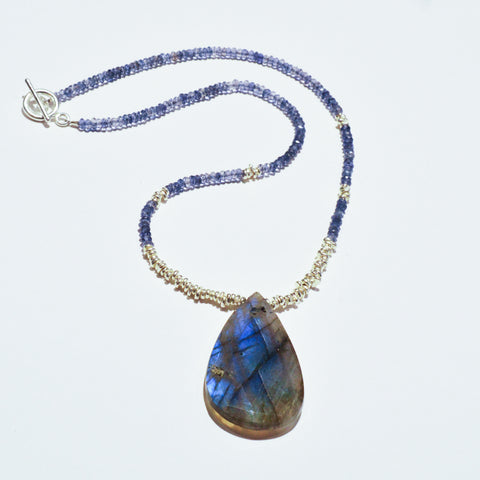 Beaded Gemstone Necklace with Large Labradorite Pendant Workshop (Wednesday, July 17th)