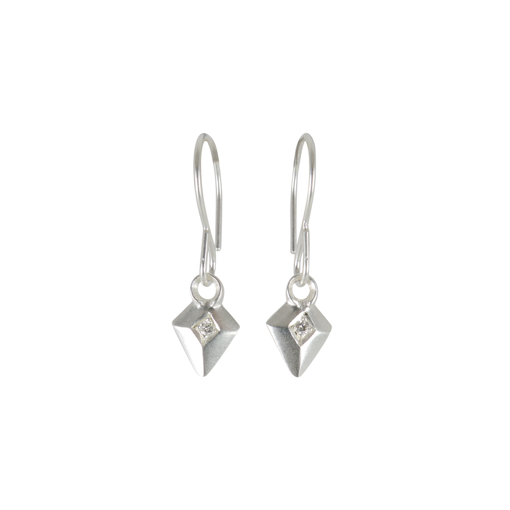 Deco Diamond Arrow Earrings in Sterling Silver