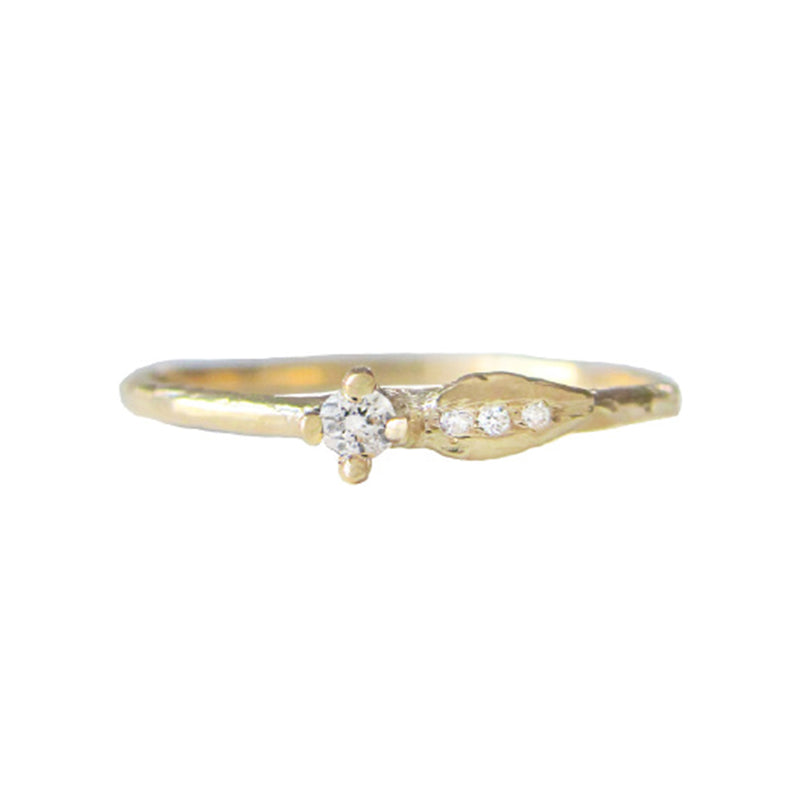 Sprout Diamond Ring in 14K Yellow Gold