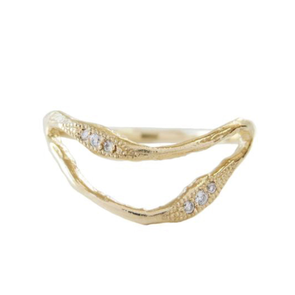 Double Tide Diamond Ring in 14K Yellow Gold