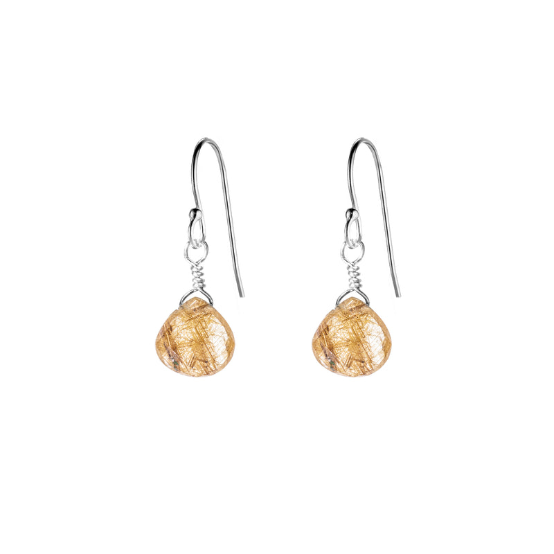 Single Drop Gemstone Earrings (Heart Shape)