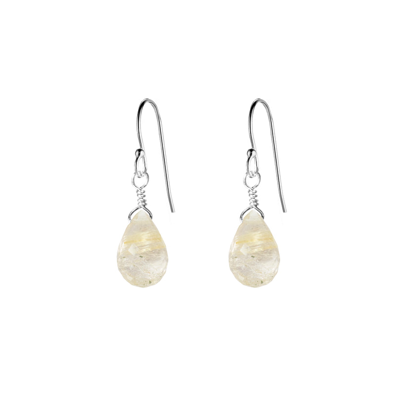Single Drop Gemstone Earrings (Pear Shape)