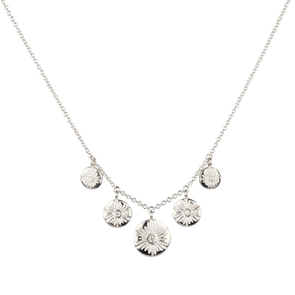 Five Corona Diamond Necklace in Sterling Silver
