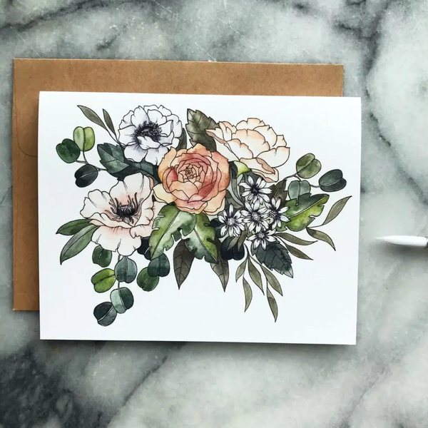Greeting Card (Flower Bouquet Watercolor)