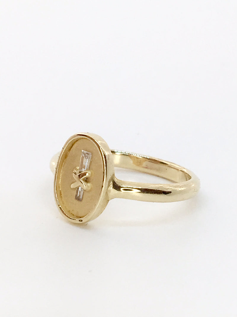 Via Negationis Diamond Baguette Ring in 14K Gold