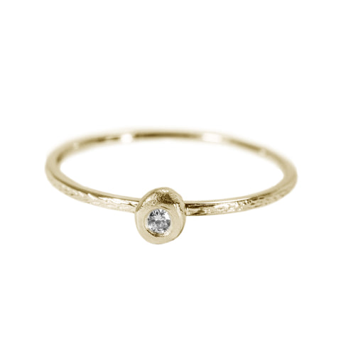Engraved Tiny Stack Ring with Diamond in 14K Yellow Gold