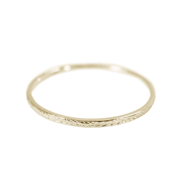 Tiny Engraved Stack Ring in 14K Yellow Gold