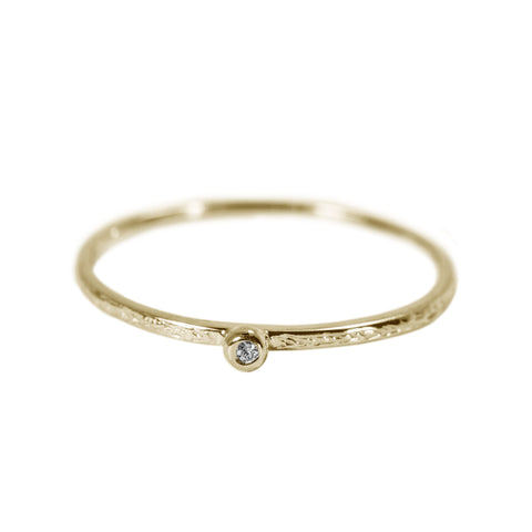 Tiny Engraved Stack Ring with Diamond in 14K Yellow Gold