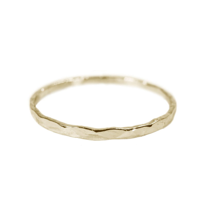 Hammered Shiny Stack Ring in 14K Yellow Gold