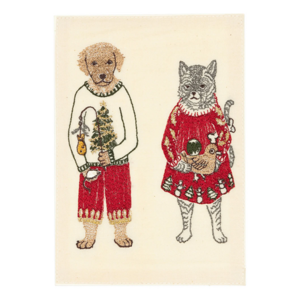 Embroidered Gifting Cat and Dog Card