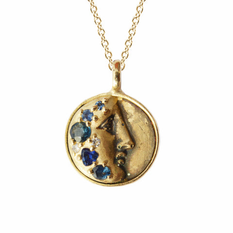The Gold of Memories Necklace with Blue Sapphires in 10K Gold