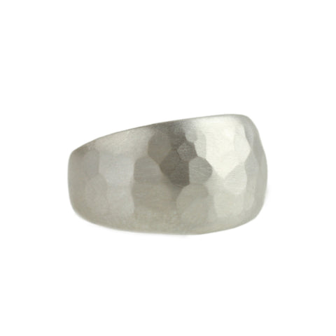 Hammered Half Sleeve Ring in Sterling Silver