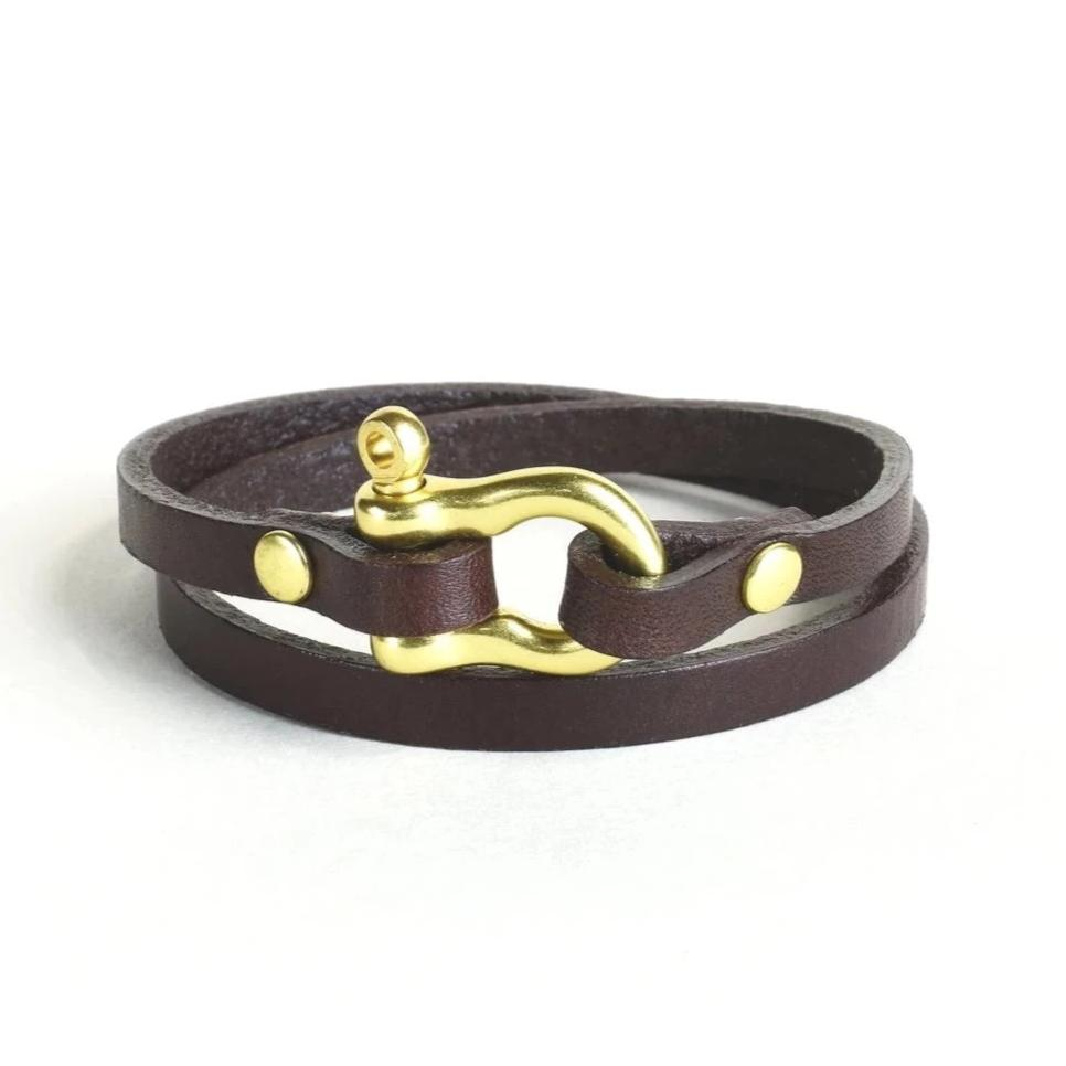 Double Wrap Shackle Bracelet (Brass on Havana Leather)