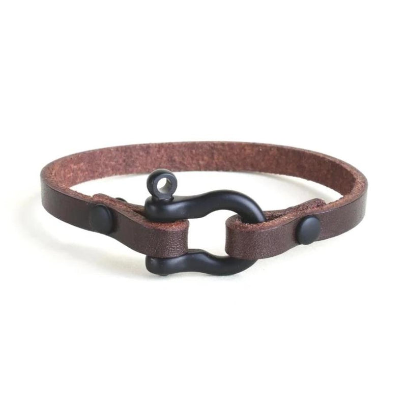 Classic Shackle Bracelet (Black on Havana Leather)