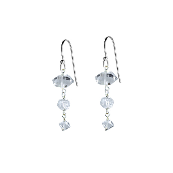 Herkimer Diamond Triple Drop Earrings