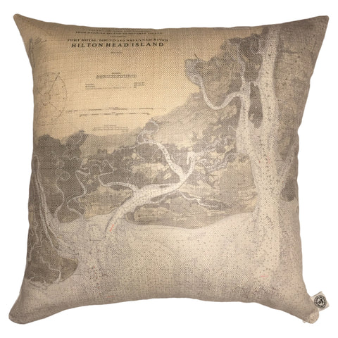 Hilton Head Island Indoor/Outdoor Vintage Nautical Chart Pillow (Square)
