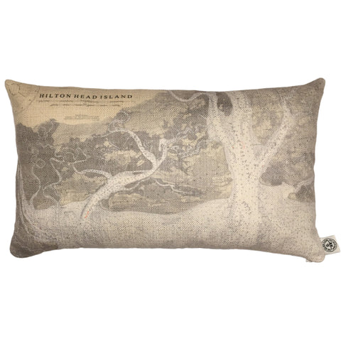 Hilton Head Island Indoor/Outdoor Vintage Nautical Chart Pillow (Lumbar)