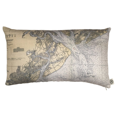 Hilton Head & Port Royal Sound Indoor/Outdoor Vintage Nautical Chart Pillow (Lumbar)