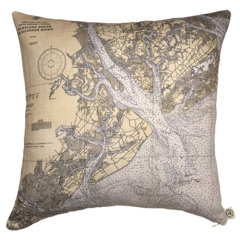 Hilton Head & Port Royal Sound Indoor/Outdoor Vintage Nautical Chart Pillow (Square)