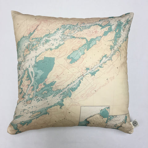Cotton Sateen Chart Pillow (Clayton to Alexandria Bay)