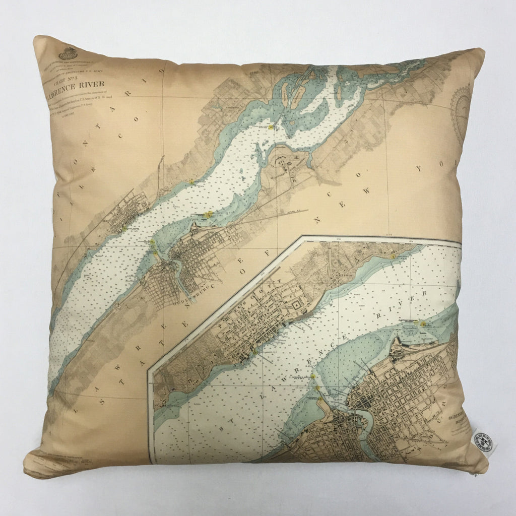 Cotton Sateen Chart Pillow (Ogdensburg, Prescott)