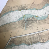 Thousand Islands Vintage Nautical Chart Pillow #8 (Ogdensburg, Prescott)