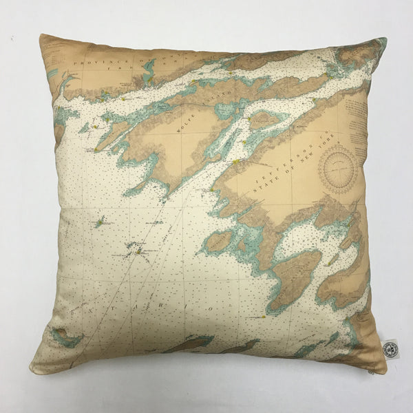 Cotton Sateen Chart Pillow (Lake Ontario to Grindstone Island)