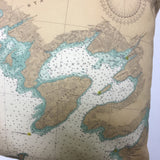 Thousand Islands Vintage Nautical Chart Pillow #1A (from Lake Ontario to Grindstone Island)
