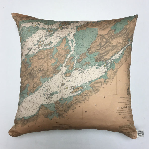 Cotton Sateen Chart Pillow (Gananoque to Lake of the Isles)