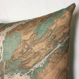 Thousand Islands Vintage Nautical Chart Pillow #3 (from Gananoque to Lake of the Isles)