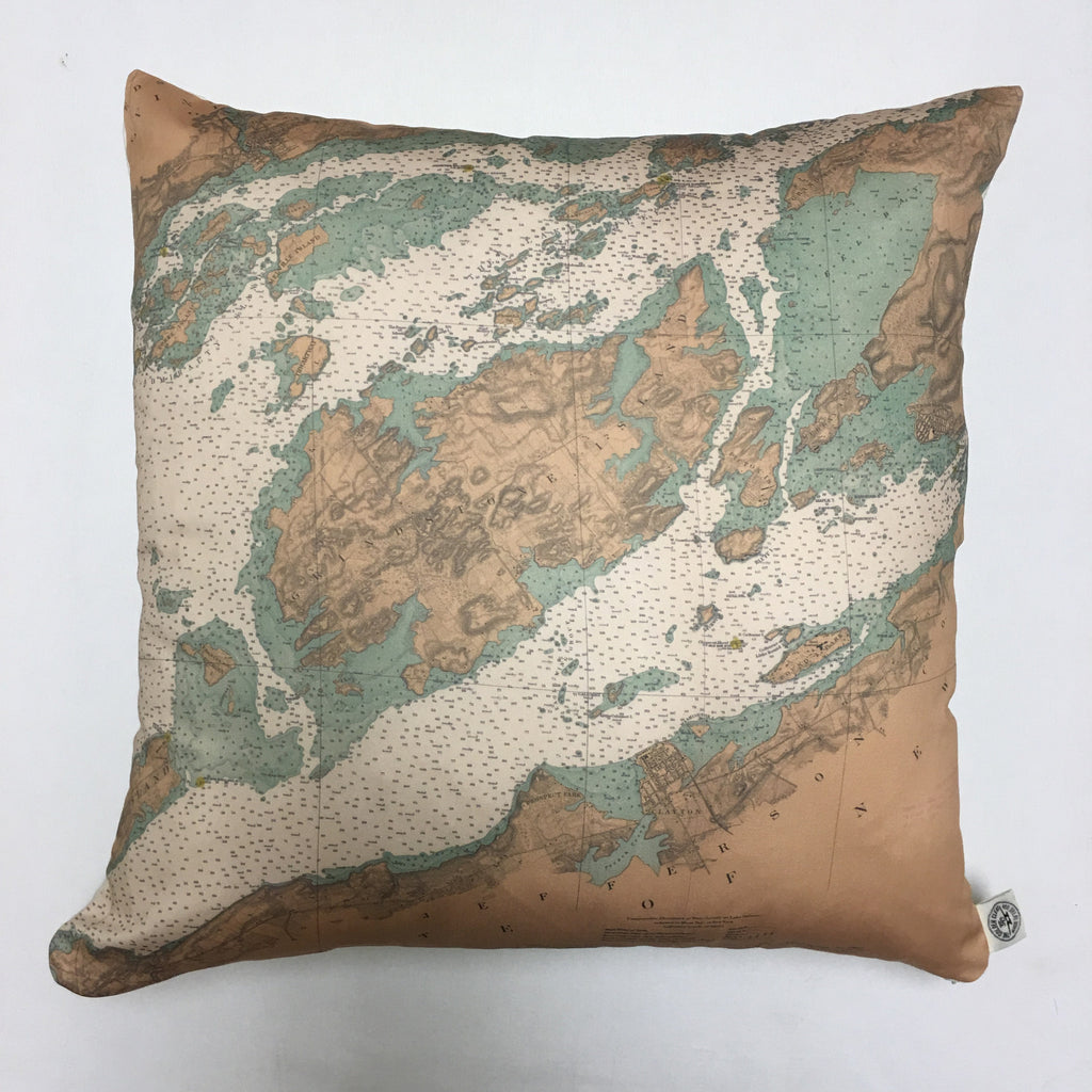Cotton Sateen Chart Pillow (Wolfe Island to T. I. Park)