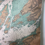 Thousand Islands Vintage Nautical Chart Pillow #2 (from Wolfe Island to T. I. Park)