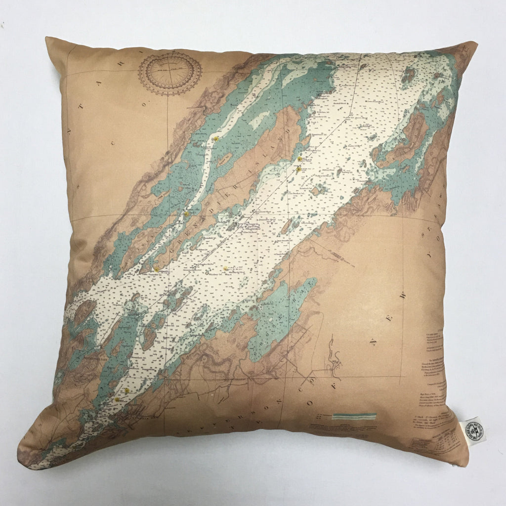 Cotton Sateen Chart Pillow (Alexandria Bay to Chippewa Bay)