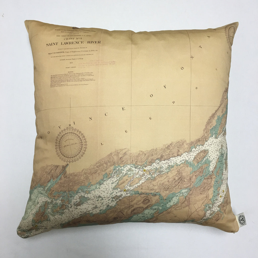 Thousand Islands Vintage Nautical Chart Pillow #4 (from the Lake Fleet Group to Alexandria Bay)