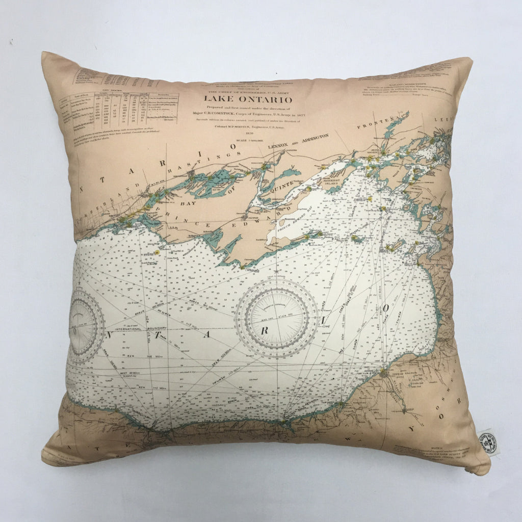 Cotton Sateen Chart Pillow (Lake Ontario to the St. Lawrence River)