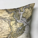 Charleston Harbor and Approaches Vintage Nautical Chart Pillow