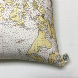 Georgia Straight & San Juan Islands Vintage Nautical Chart Pillow