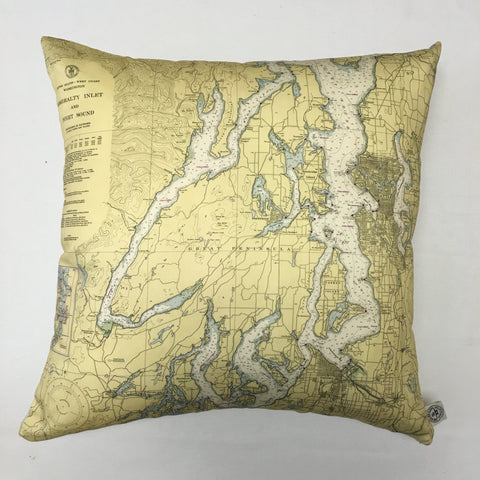 Puget Sound, Seattle & Tacoma Vintage Nautical Chart Pillow