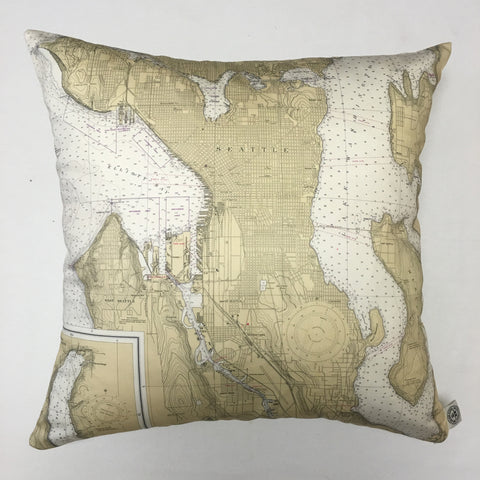Seattle Harbor Vintage Nautical Chart Pillow