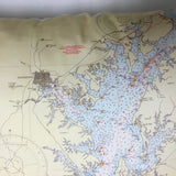 Chesapeake Bay North (Baby Blue) Vintage Nautical Chart Pillow