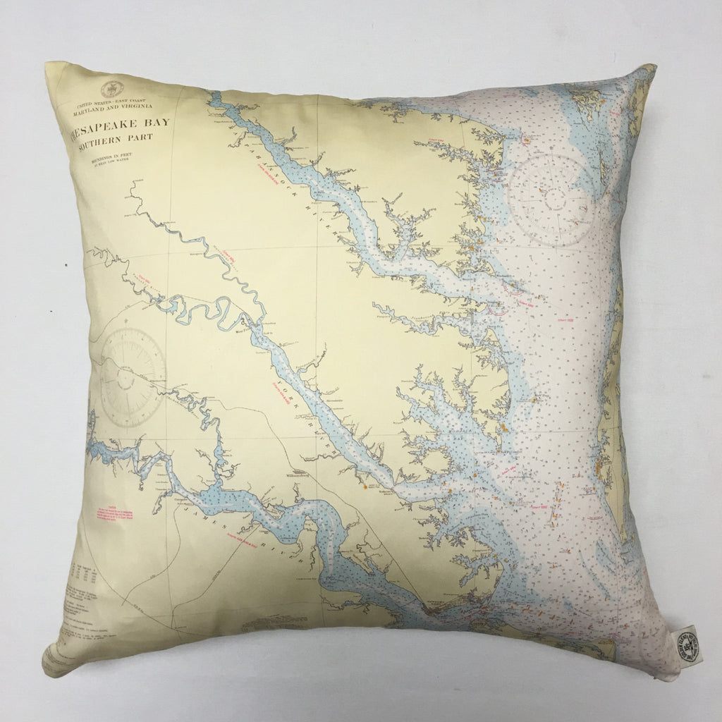 Chesapeake Bay South (Baby Blue) Vintage Nautical Chart Pillow