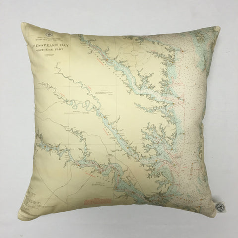Chesapeake Bay South (Seafoam Green) Vintage Nautical Chart Pillow
