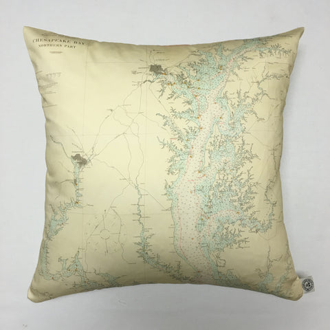 Chesapeake Bay North (Seafoam Green) Vintage Nautical Chart Pillow