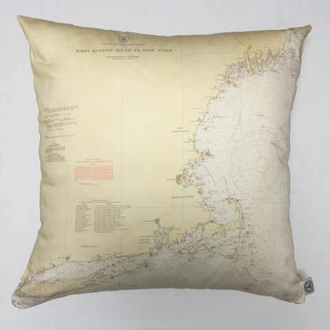 East Coast from Maine to NYC Vintage Nautical Chart Pillow
